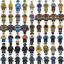 50 Uds militar de la Segunda Guerra Mundial policía SWAT arma armas, Ejército soldados bloques de construcción cifras ladrillos MOC de armas de la ciudad de Juguetes