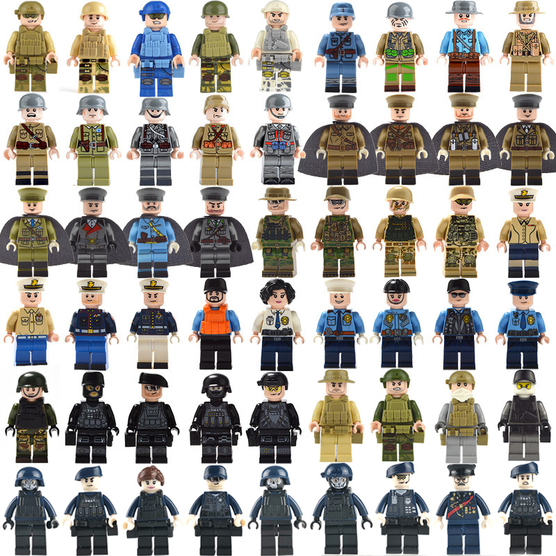 50pcs Military WWII SWAT Police Gun Weapons Army Soldiers Building Blocks Figures Bricks MOC Arms City Toys