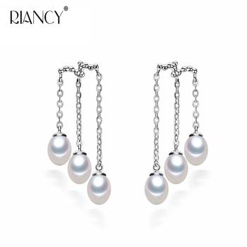 Fashion Natural Freshwater Pearl Earrings 925 Sterling Silver tassel Pearl Jewelry For Women Long Earring [nymph] fine jewelry long tassel pearl earrings natural big baroque pearl drop earrings for women party e321