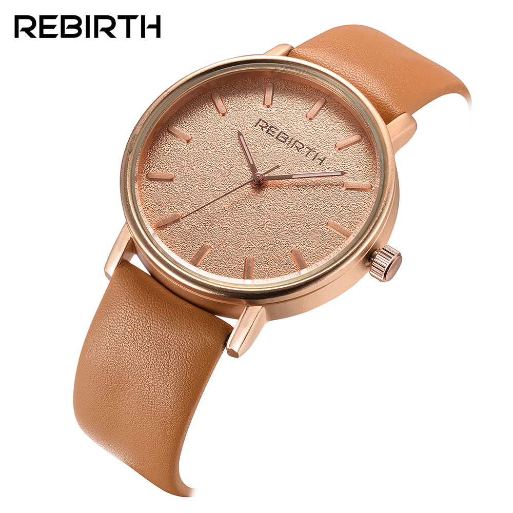 Brand REBIRTH Watches Men Women Fashion Casual Sport Clock Classical Leather Male Quartz Wrist Watch Relogio Masculino Feminino redear top brand wood watch men women wooden watches japan miyota fashion watch leather clock relogio feminino relogio masculino