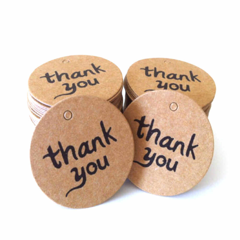 50/100pcs thank you gift tag label for wedding/candy/baby gift products tagging package per lot handmade hang tag kraft paper