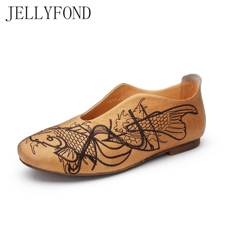 JELLYFOND Vintage Style Embroidery Women Comfortable Flats Genuine Leather Handmade Moccasins Loafers 2018 Driving Shoes Woman vintage embroidery women flats chinese floral canvas embroidered shoes national old beijing cloth single dance soft flats