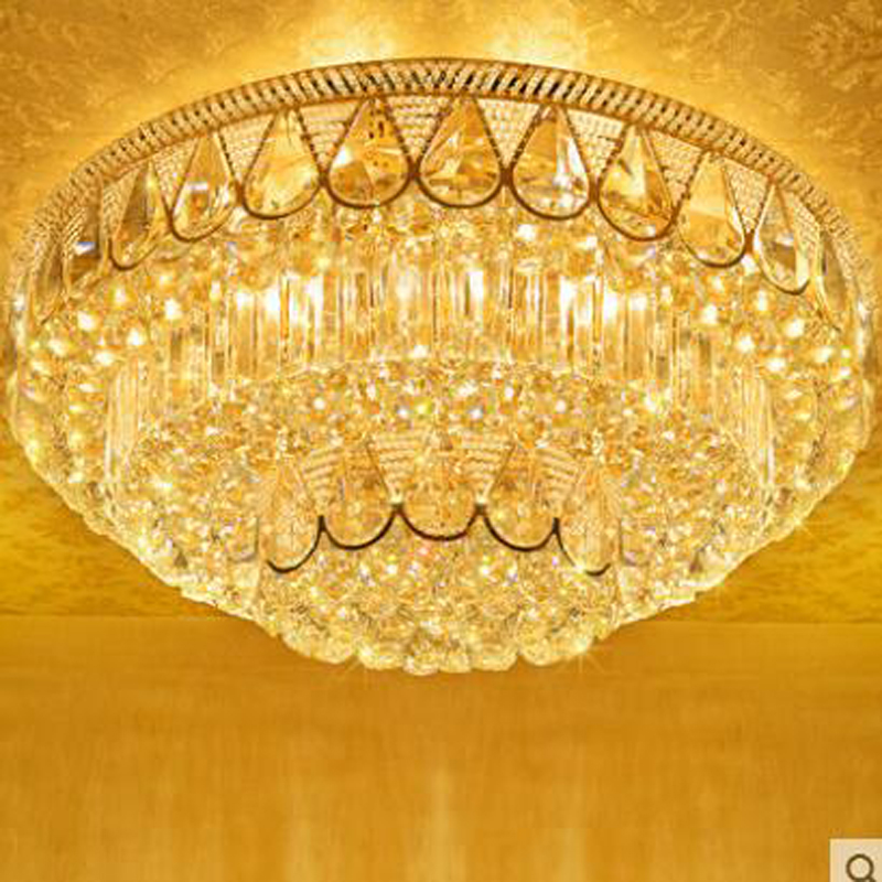 Simple round golden living room ceiling lamp LED bedroom restaurant crystal lamps modern study lighting fixture led ceiling lamp j best price modern fashion crystal lamp rectangle restaurant ceiling lamp sitting room partition lamps led ceiling light