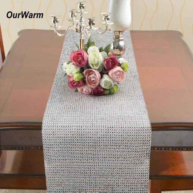 OurWarm 5 Yards 50 Rows Mesh Diamond Rhinestone Wrap Christmas Table Runner  Ribbon Roll Sparkle Crystal