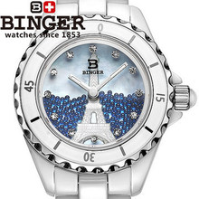 Binger Elegant Shell Dial Wristwatch Popular Dress Quartzs Hours Clock Watch Promotional Top Brand Carving Eiffel
