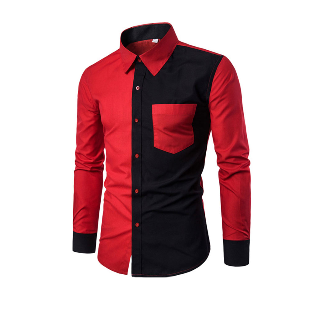 2019 Fashion Men Long Sleeve Shirt Casual Patchwork Color Slim Fit Spring Autumn Shirts Tops Camisa Masculina Christmas Deals image