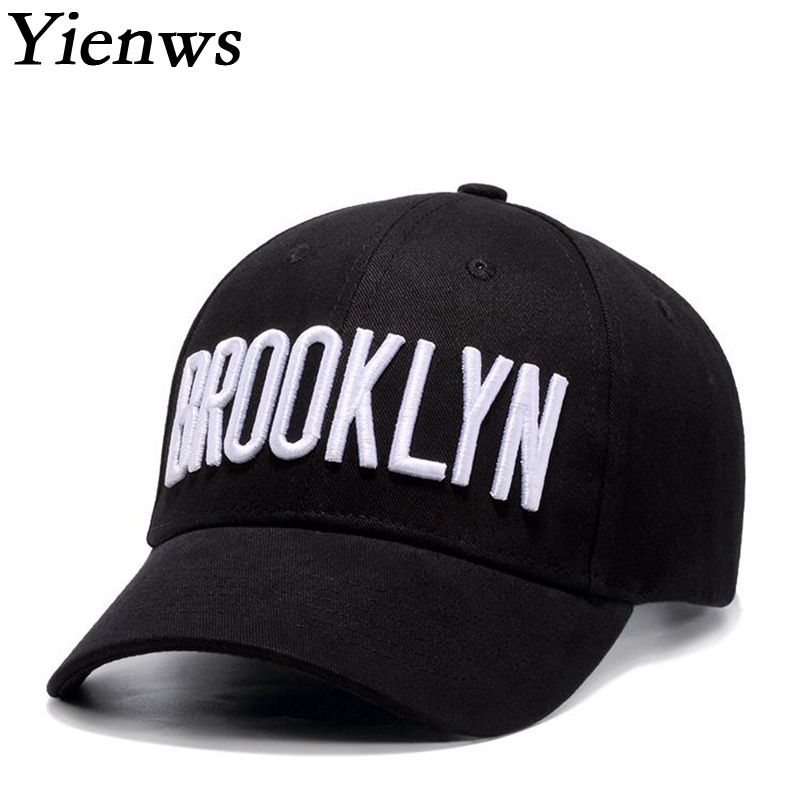 Yienws Letter Embroidery Hip Hop Cotton Baseball Cap For Men Women Brooklyn Curved Youth Full Cap Black Fitted Hats YIC465 new 2017 hats for women mix color cotton unisex men winter women fashion hip hop knitted warm hat female beanies cap6a03