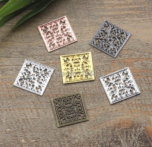 15mm Vintage Filigree Square Flower Charms Bu Yao Hair Clasp Connectors Wraps Links Blank DIY Findings Multi-color Plated Brass