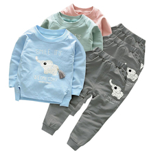 купить Kids Clothes 2016 Autumn/Winter Baby Boys Girls Cartoon Elephant Cotton Set Children Clothing Sets Child T-Shirt+Pants Suit V2 дешево