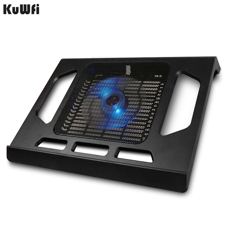 Image 3 - Cooling Pad For Laptop Tablet PC Notebook Below 15 Inch Cooler Pad Laptop Cooling With Single Fan 2 Blue LED Ergonoimice Design-in Laptop Cooling Pads from Computer & Office