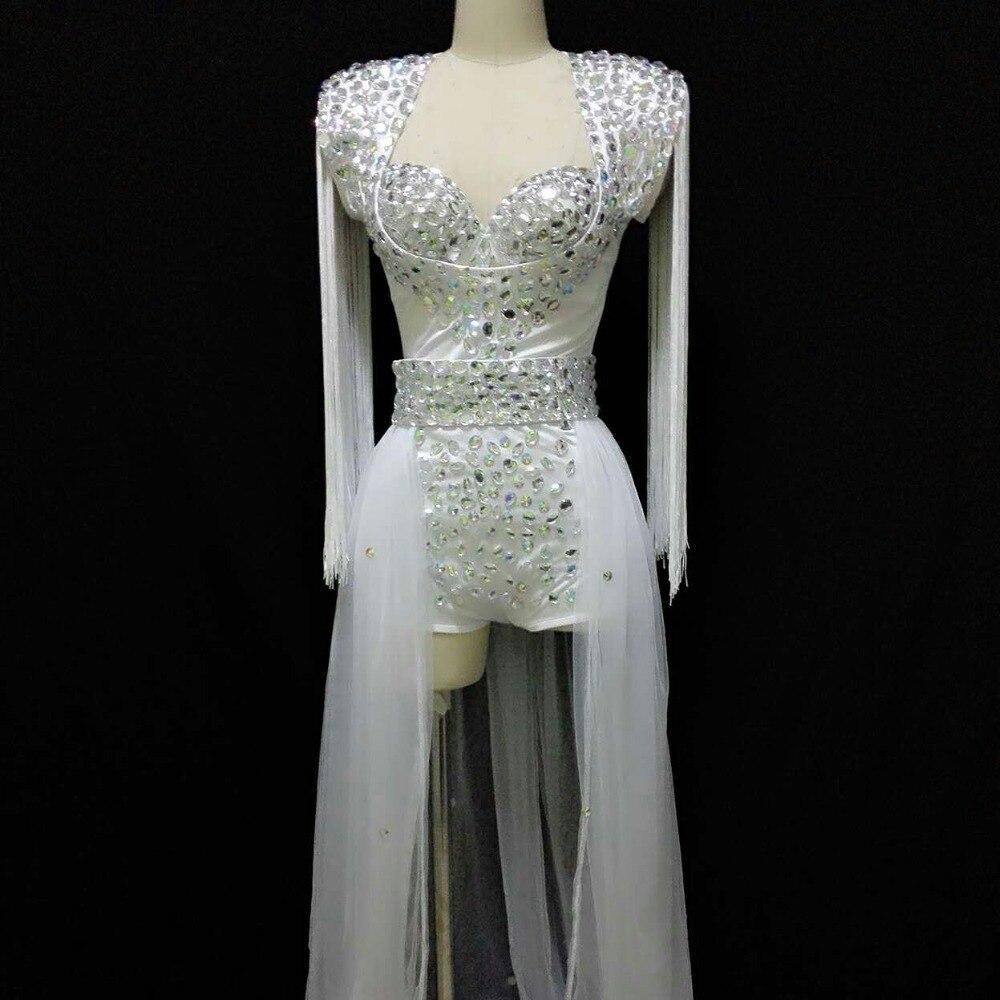 Kadın Giyim'ten Zıbınlar'de Kadın Şarkıcı Neon Gül Beyaz Dj Ds Toz Köpüklü Kristaller Rhinestone Moda Apolet Tren Kostüm Gece Kulübü Dans Giyim'da  Grup 1