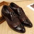 2017 NOVOS Clássicos Sapatos Baixos Do Casamento Os Homens Se Vestem de Luxo Dos Homens negócios Sapatos Oxfords Casual Preto/Marrom de Couro Sapatos Derby G608