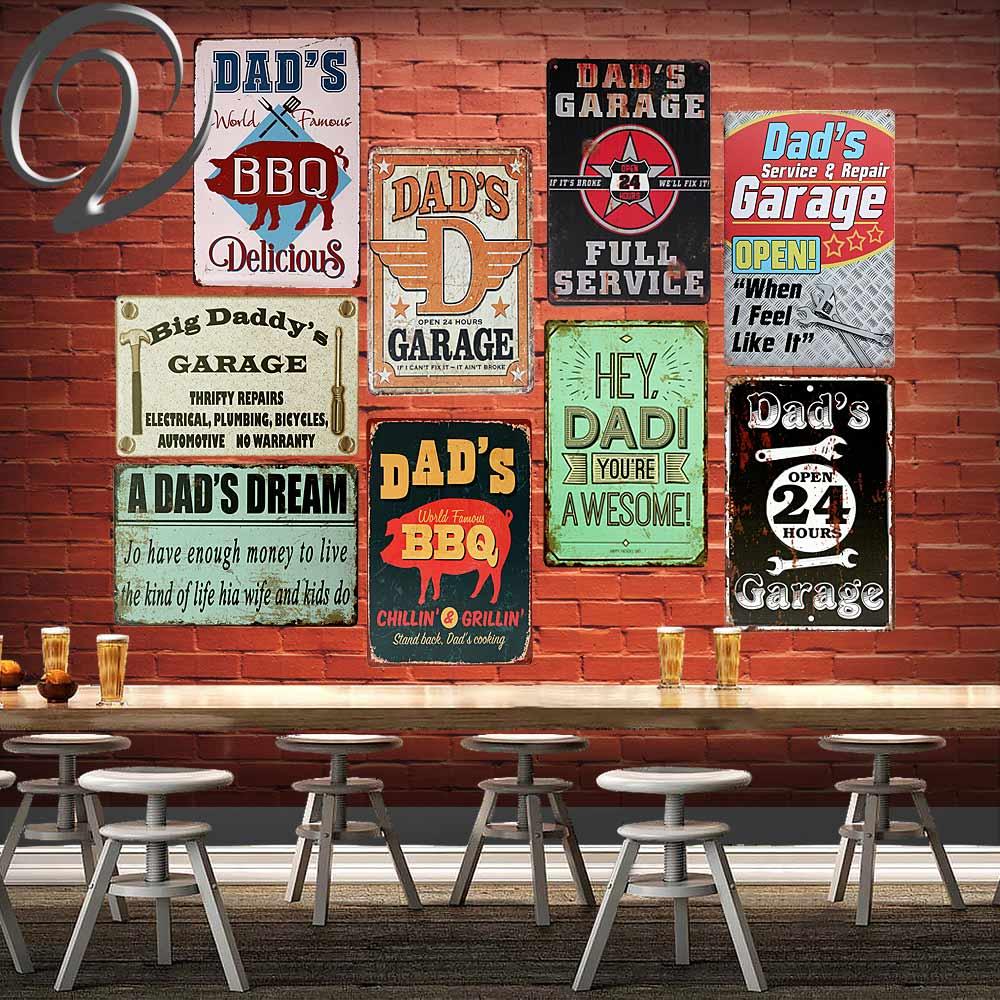 Dad's BBQ Garage Open 24 Hours Vintage Garage Sign Metal