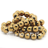 1000Pcs Gold Color Round Hematite Loose Beads Jewelry DIY Findings 8mm(3/8