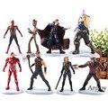 Marvel Avengers Iron Man Thor Spiderman Star Lord Black Widow Doctor Strange Tree Man Thanos Action Figure Kids Toys 8pcs/set