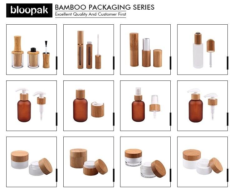 30ml  100ML 120ML 150ML Frost Glass Mist Spray Bottle Bamboo Pump Bottles Empty Cosmetic Toner Packaging Bottles