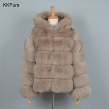 JKKFURS 2019 New Women Real Fox Fur Hood Coats Fashion Style Winter Warm Wholesale Top Quality S7254