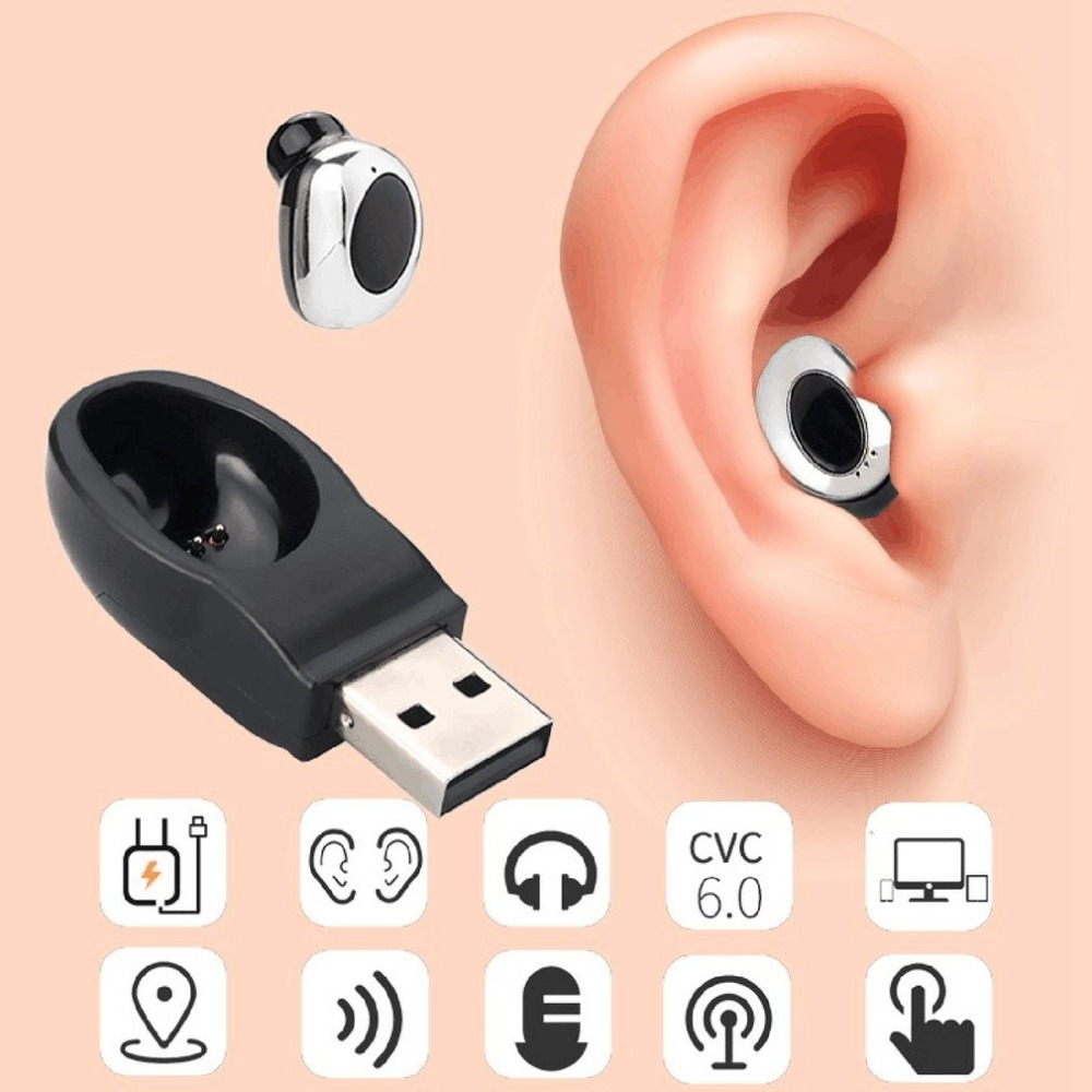 Mini Wireless Bluetooth Earphone In Ear Earpiece Invisible Headset Handsfree Magnet USB Charger with Mic Earbuds for smartphone
