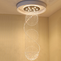 Modern K9 Crystal Chandeliers LED Spiral Stairs Crystal Ceiling Pendant Lamps Fixtures For Staircase Stair Hotel