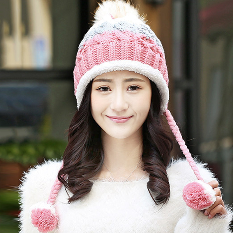 2017 Faux Fox Fur Pom Poms Spring Winter's Thicken Female Cap Knitted Cotton Beanies Hat for Women Girl 's Skullies new star spring cotton baby hat for 6 months 2 years with fluffy raccoon fox fur pom poms touca kids caps for boys and girls