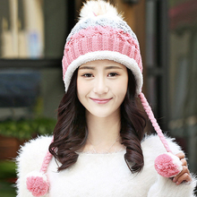 2017 Faux Fox Fur Pom Poms Spring Winter's Thicken Female Cap Knitted Cotton Beanies Hat for Women Girl 's Skullies