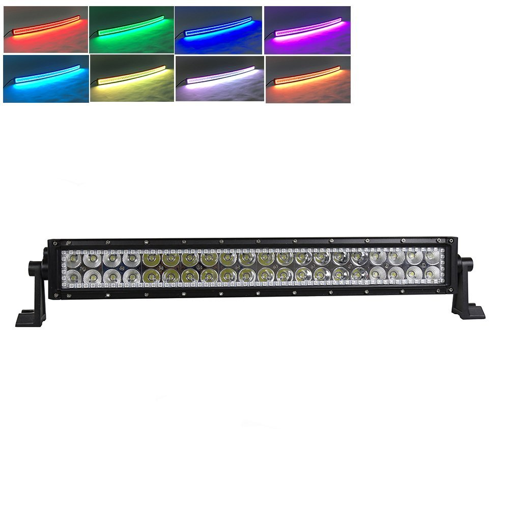 22 inch 120W LED Light Bar Straight / Curved RGB HALO Ring RGB color by Remote for Fog Driving Boat Car Truck SUV ATV Off Road rgb led rock light kits bluetooth remote control lights for off road truck car atv suv vehicle boat with timing