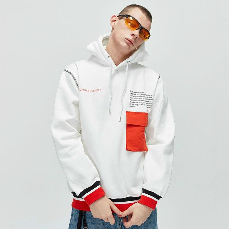 Hip Sudadera Negro Moda Los blanco De Hop Capucha Hombres Suelta Hombre Jerseys Lana Par Ropa Casual Con Streetwear Empalme TP1pFq
