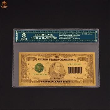 Dinero de oro de EE. UU. SMJY, dinero de 10.000 dólares, oro 999 chapado en oro, billetes falsos, colecciones de billetes