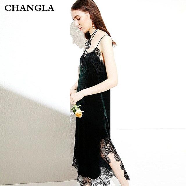 CHANGLA Sexy Strap Velvet Dress Women Spring Autumn Black Dresses Elegant Black Evening Party Dresses Club Dress 2017 Vestidos