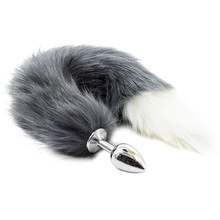 Animal Cat Fox Tail Fetish Stainless Steel Anal Plug Anal Butt Plug White Grey Color