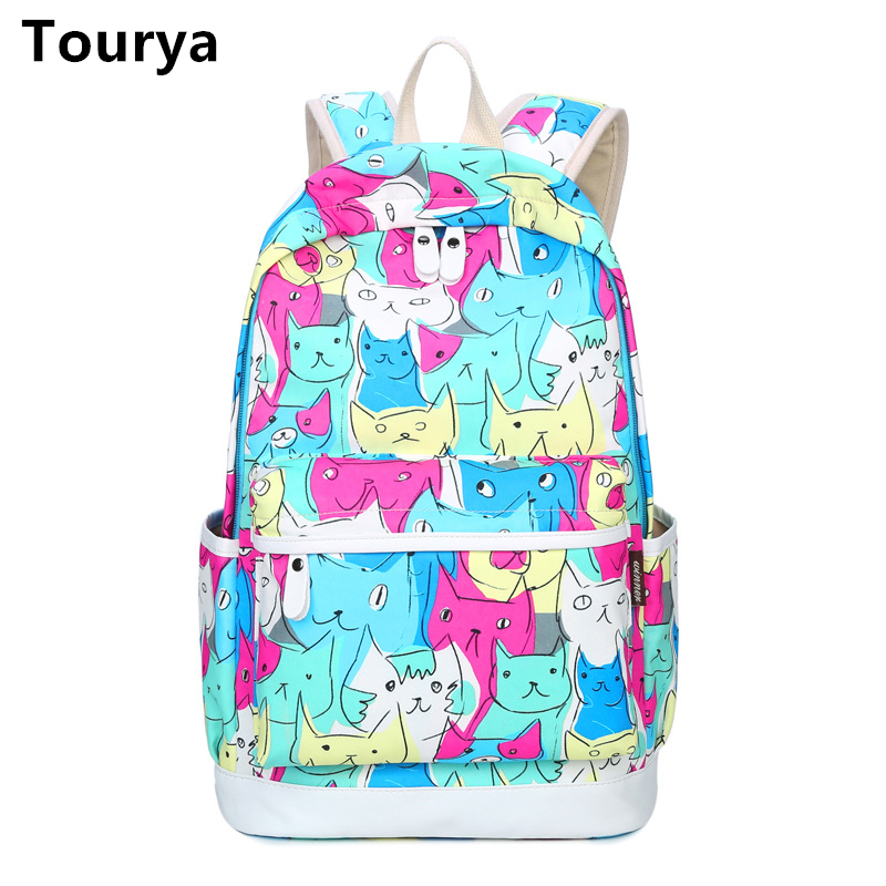 Tourya Women Backpacks School Bag Schoolbag For Teenage Girls Travel Backbag Cute Cat Printing Bagpack Laptop Animal Backpack zooler women s backpack eyes sequined designer black cartoon eyes backpacks travel bag cute shell backpacks for teenager girls