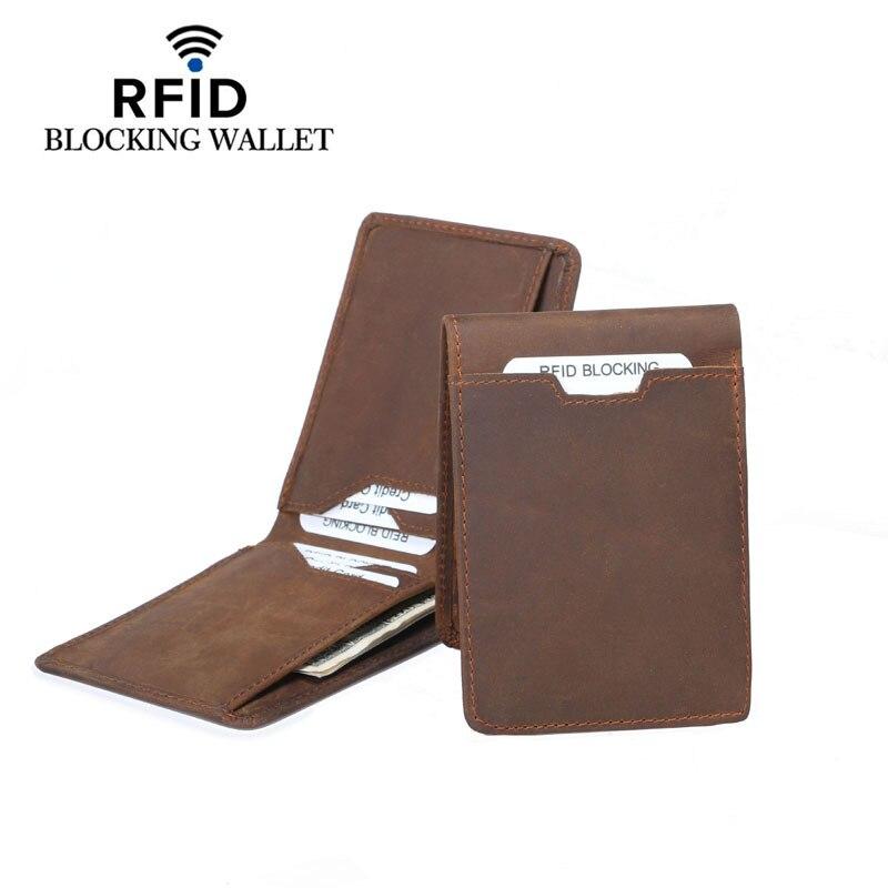 Vintage Designer RFID Blocking Genuine Leather Men Slim Thin Mini Wallet Male Small Purse font b