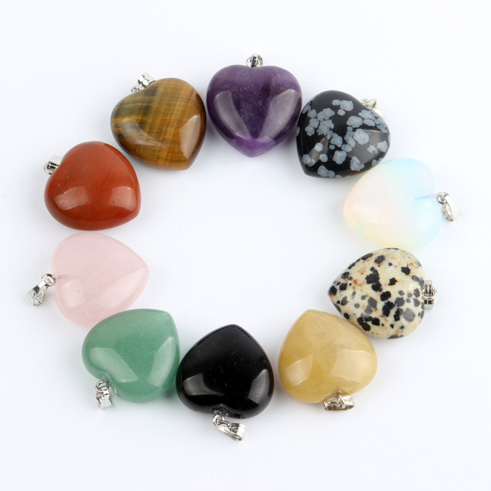 Assorted Natural stone Heart Pendants Pendulum Crystal Opalite Chakra Healing Crystal Reiki Beads Free shipping