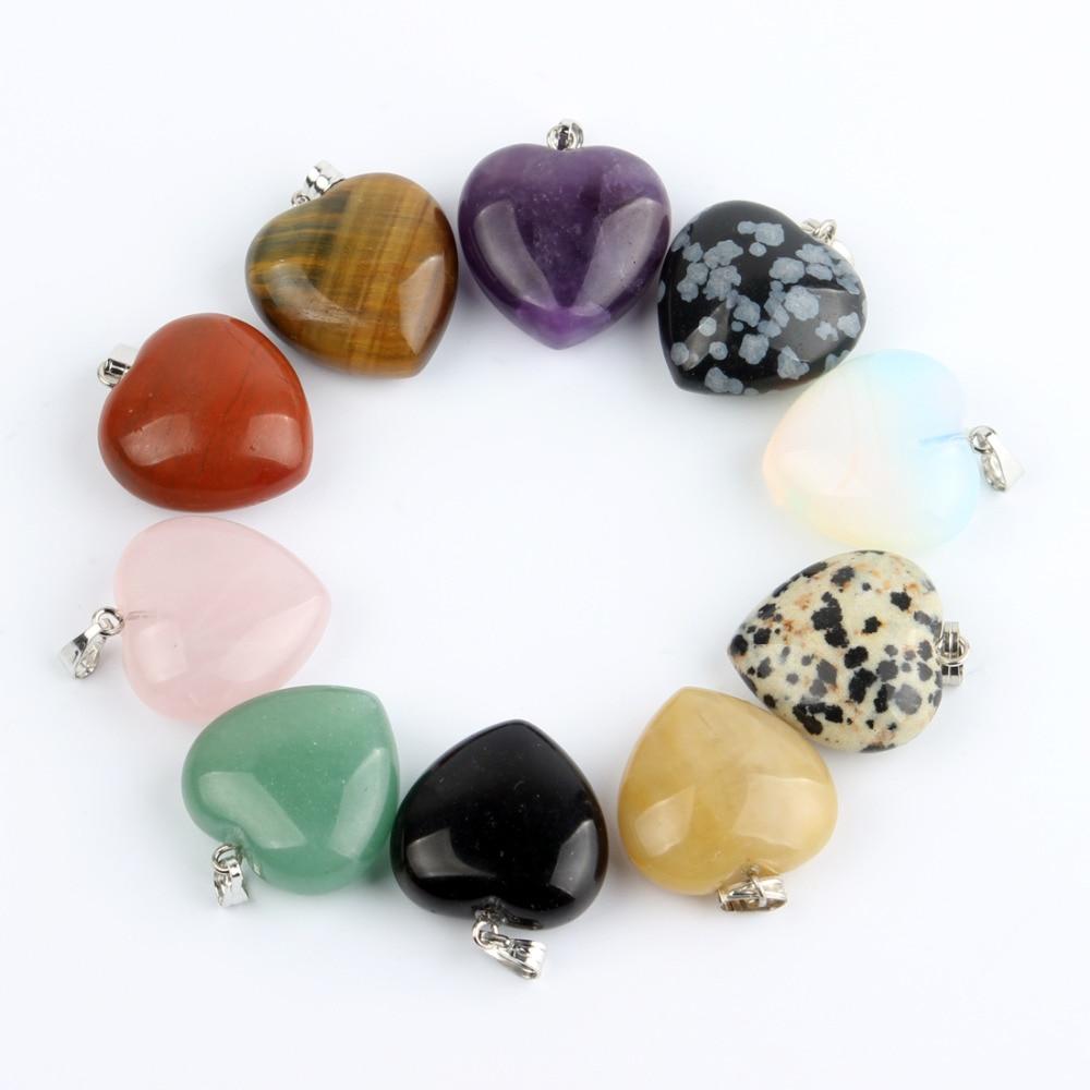 Įvairūs natūralus akmuo Širdies pakabukai Švytuoklė Crystal Opalite Chakra Healing Crystal Reiki karoliukai Nemokamas pristatymas