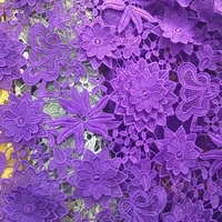 2017 African French Lace Fabric High Quality Polyester Purple Lace Milk Silk Water Soluble Lace Red