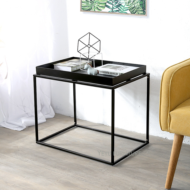 Minimalist Modern Design Metal Steel Loft Tray Side Table Fashion Living Room Small