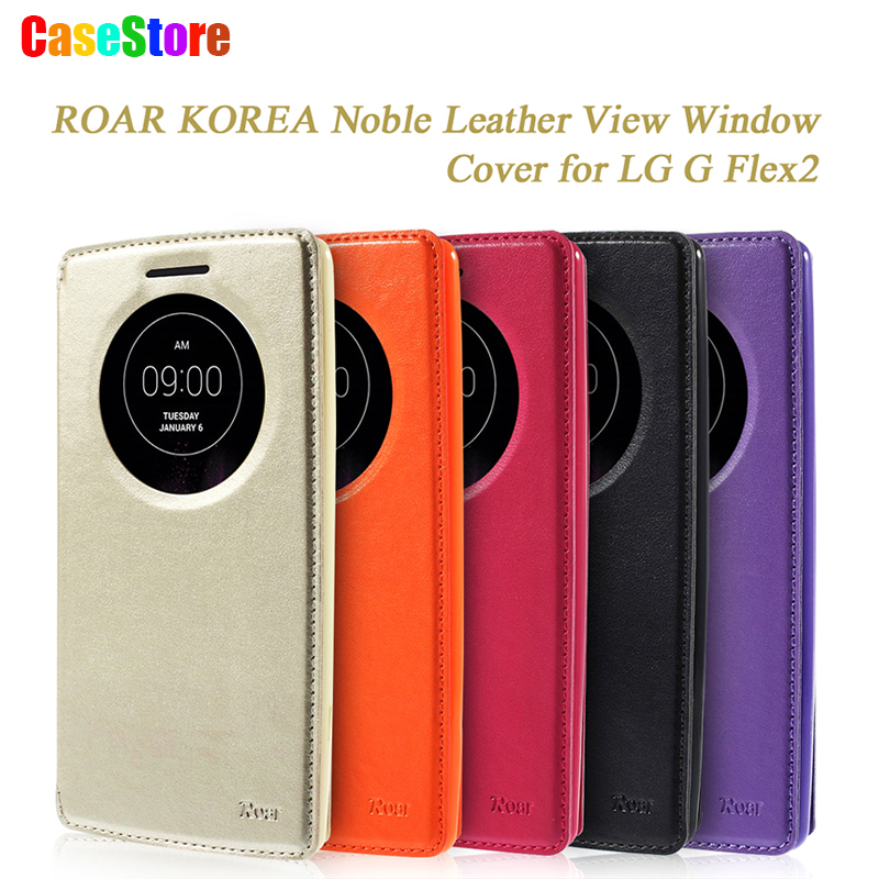 ROAR KOREA for LG G Flex 2 Case TOP Quality Flip Leather Cover Kickstand View Window Phone Wallet Bag for LG G Flex2 H955