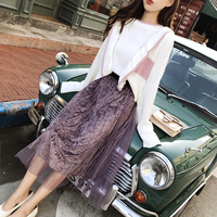 Spring 2 Piece Set Women Pullover Lotus Leaf Edge Knitted Tops Mesh Golden Velvet Womens Skirts Sets Loose Woman Clothes