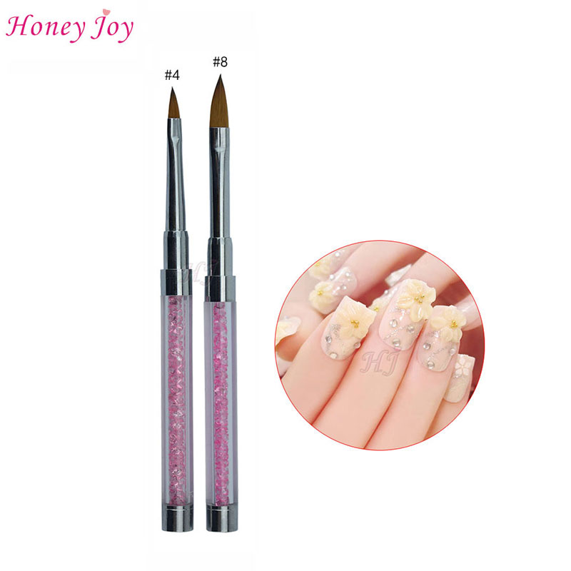 Professional #4/#8 Natural Hair Metal Handle Crystal Rhinstone Acrylic Nail Art Sculpture Brush Carving Pen Beauty Nail Drawing