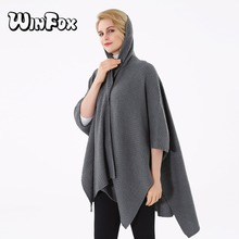 Winfox 2018 New Brand Fashion Winter Black Grey Color Sweater Coat Poncho and Cape Scarf For Womens