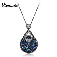 Viennois Fashion Rose Gold Gun Plating White Black Square Crystal Rhinestone Pendant Necklace New Women Gift