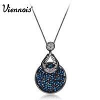 Viennois Fashion Rose Gold Gun Plating White Black Square Crystal Rhinestone Pendant Necklace New Women Gift