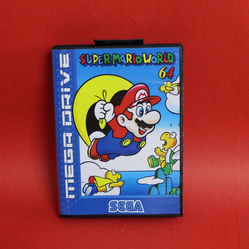 Supermarioworld 64 16 bit MD card with Retail box for Sega MegaDrive Video Game console system mickey mouse castle of illusion
