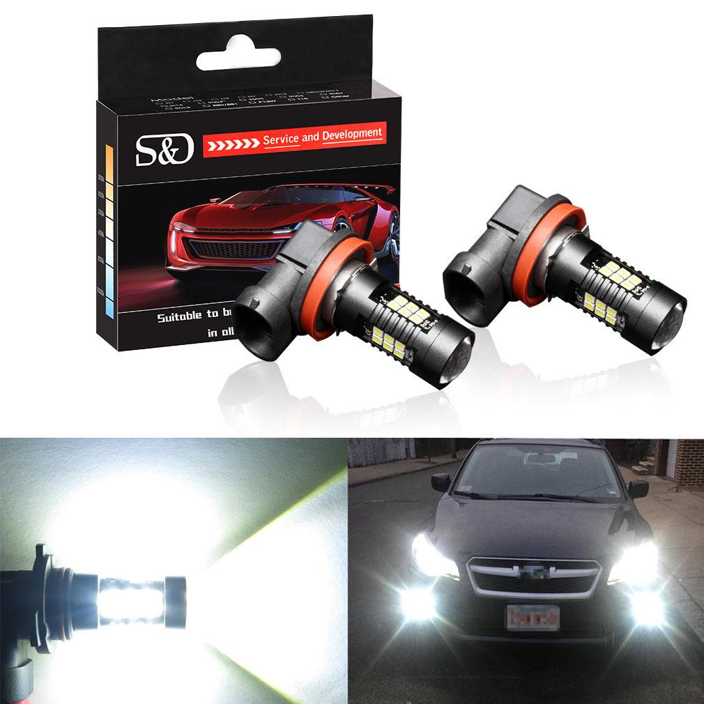 2pcs 1200Lm H11 H8 LED Car Lights LED Bulbs 9005 HB3 9006 HB4 White Daytime Running Lights DRL Fog Light 6000K 12V Driving Lamp