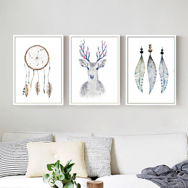 Sacred Fairy Dreamcatcher Native American Culture Minimalist Canvas Painting Cute Wall Poster For Nursery Kids Room