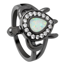 New Cute Turtle White Drop Shape Fire Opal Ring Clear Cz Animal Ring For Women Wedding Band Black Jewelry Filled Unique Cocktail cute solid color fishbone shape ring for women