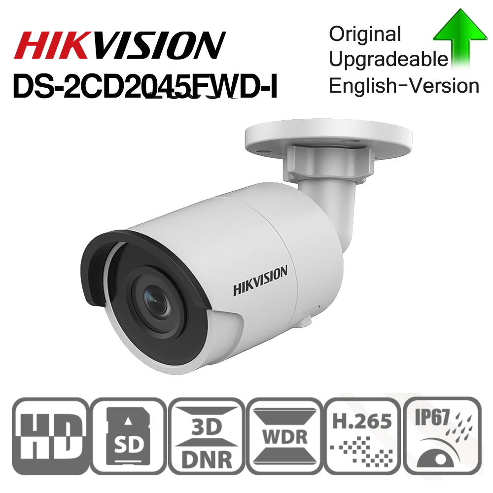 Hikvision Original  DS-2CD2045FWD-I POE Camera Video Surveillance 4MP IR Network Dome Camera 30 M IR IP67  H.265+ SD Card Slot
