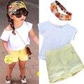 Causal Summer Girls Clothes Set Niños de Manga Corta Camiseta Blanca + Amarillo Pantalones Trajes Del Deporte de la Ropa de los Bebés Set Trajes