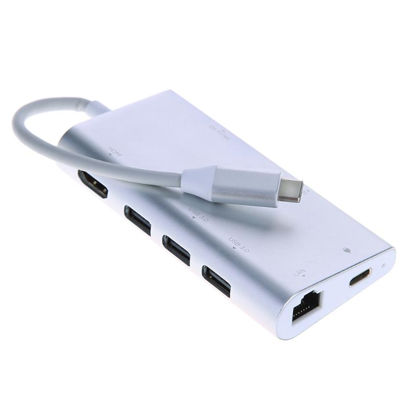 HUB USB multifunción tipo C 8 en 1 Hub USB-C con vídeo tipo C 4 K HD Gigabit RJ45 Ethernet Adaptador SD/TF lector de tarjeta