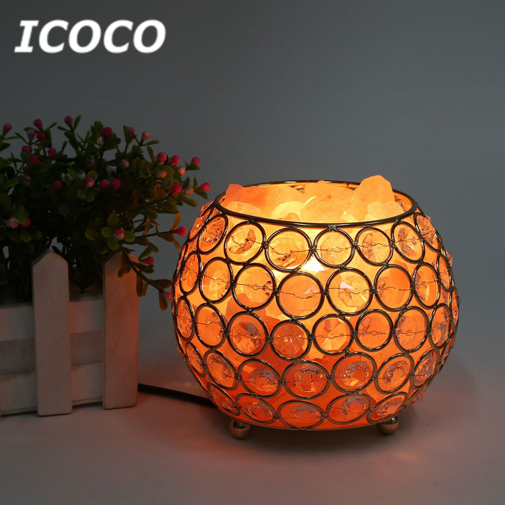 ICOCO Round Shape Healthy Life Himalayan Natural Crystal Salt Light Air Purifying Himalayan Salt Lamp Night Light Drop Shipping